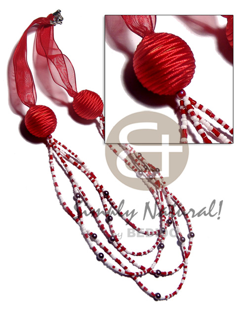 hand made 5 r0ws red white glass beads Long Endless Necklace