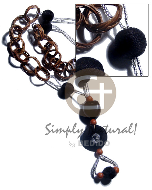 Basket rings kukui nuts 15mm Long Endless Necklace