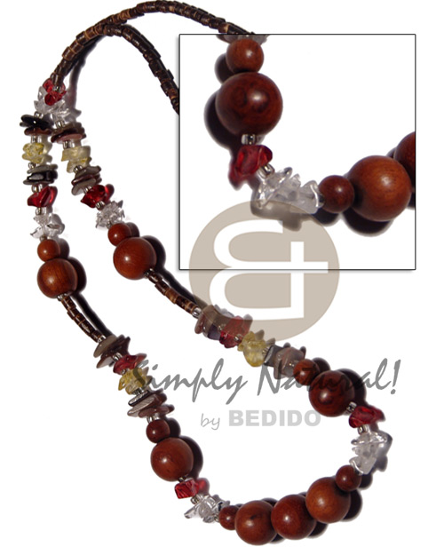 2-3mm coco heishe natural brown Long Endless Necklace