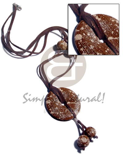 2 rows brown leather thong  15mm round textured brwon marbled wood beads and matching 50mm tassled  wood in donut shape /24in - Long Endless Necklace