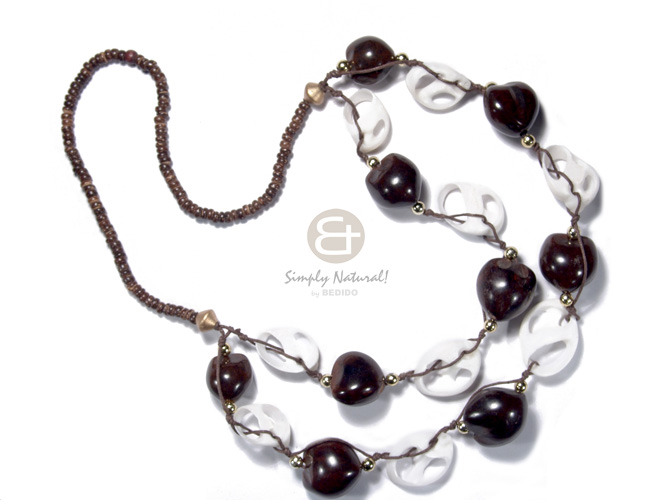 4-5mm coco nat. brown   2 graduated rows of kukui nuts and  sliced vertagus shell in wax cord  gold accent / 24in/28in - Long Endless Necklace