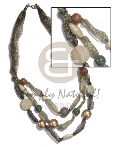 "asstd. wood beads in multi layered glittery organza ribbon/ olive and gold tones / 18""/20""/22"" - Long Endless Necklace"