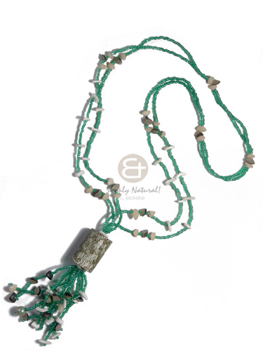 hand made 2 layers green glass beads Long Endless Necklace