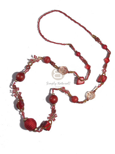 Asstd red glass beads Long Endless Necklace
