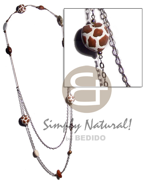 hand made 2 pcs. giraffe kukui nuts Long Endless Necklace