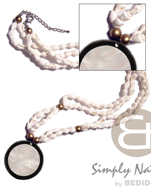 45mm round kabibe shell in Long Endless Necklace