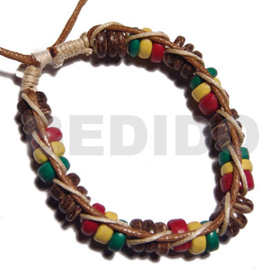 7-8mm coco Pokalet in rasta tone in macrame beige and golden brown wax cord - Macrame Bracelets