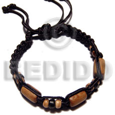 Tube wood beads in macrame Macrame Bracelets