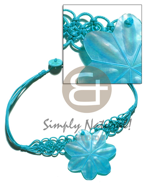 Aqua blue wax cord macrame Macrame Necklace