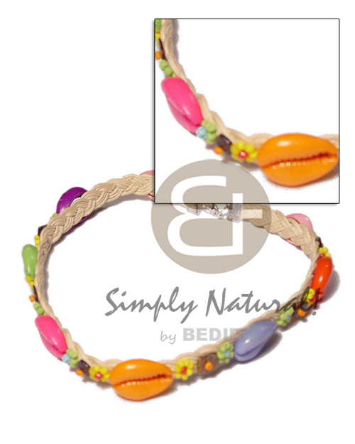 hand made Colored sigay in wax cord Macrame Necklace