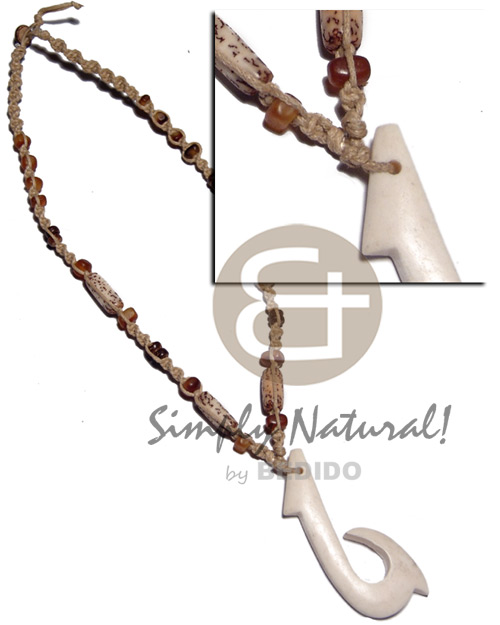 60mmx25mm carabao white bone hook Macrame Necklace