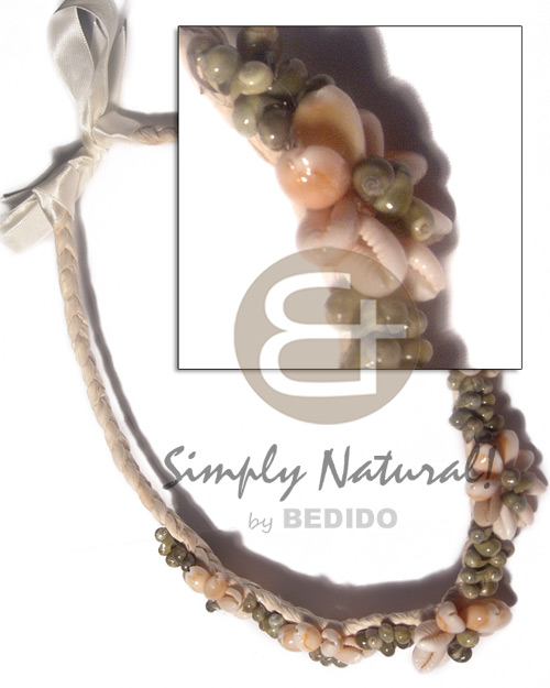 braided  flat abaca choker  5 pcs flower sigay/cowrie shells and green mongo shells accent  / 16in.  braided abaca  20in extender ribbon - Macrame Necklace