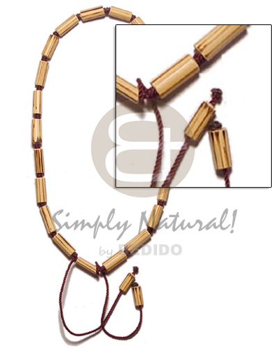hand made Bamboo macrame splashing wood Macrame Necklace