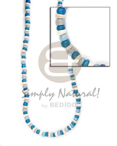 hand made 4-5mm coco pukalet blue wht tones Mens Necklace