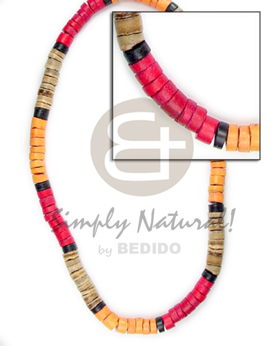 4-5mm coco heishe natural brown red orange black Mens Necklace