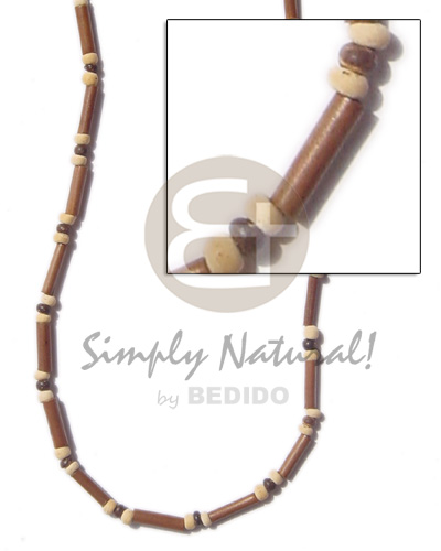 2-3 mm light brown bamboo Mens Necklace