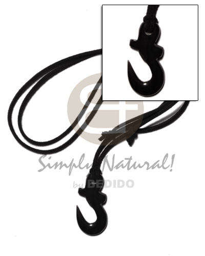 40mm black celtic carabao horn Mens Necklace