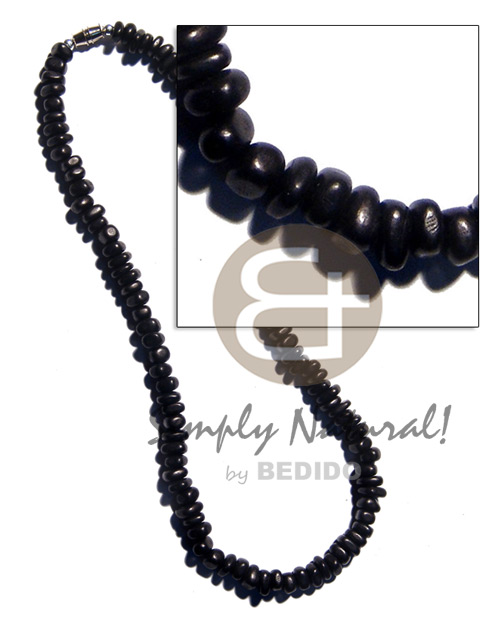 Black carabao horn nuggets Mens Necklace