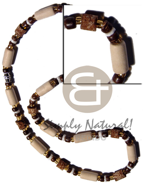 Natural white wood tube Mens Necklace