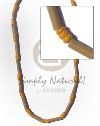 Bamboo tube bright yellow Mens Necklace