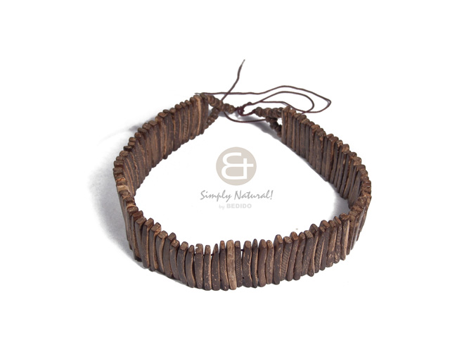 3in coco nat. brown sticks choker / 15in plus adjustable pamu thread - Mens Necklace