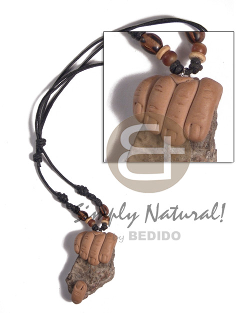 adjustable wax cord  clay hand holding rough stone nugget - Mens Necklace