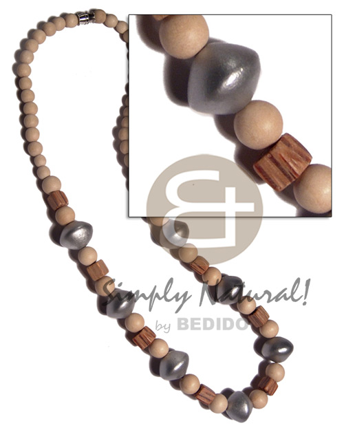 6mm round nat. wood beads palwood cubes and 12mmsaucer wood bead in silver color combination /16in /barrel lock - Mens Necklace