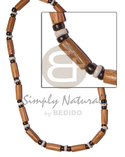 Palmwood tube black coco Mens Necklace