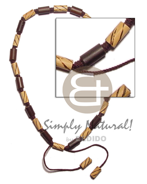 Macramie bamboo nat brown wood Mens Necklace