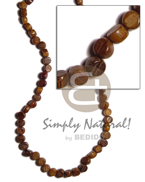 hand made Flat round sidedrill robles wood Mens Necklace