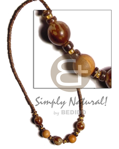 2-3mm coco natural brown pokalet heishe Mens Necklace