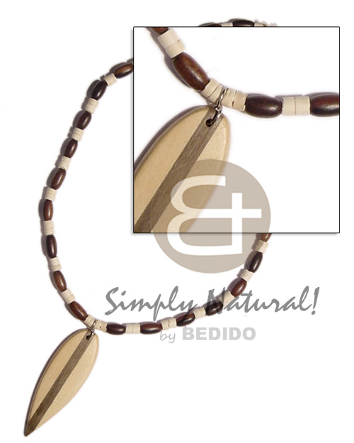 Wood ricebeads 2-3mm coco Mens Necklace