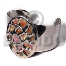 haute hippie 38mmx28mm metal cuff bangle  58mmx43mm oval glistening orange abalone / molten silver metal series / electroplated - Molten Metal Bangles