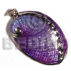 glistening purple abalone   (approx.  45mm - varying natural sizes ) molten gold metal series /  attached jump rings / electroplated / a-4 - Molten Metal Pendants