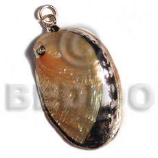 hand made Glistening orange abalone approx. Molten Metal Pendants
