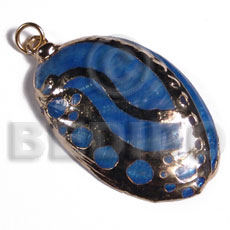 glistening blue abalone   (approx.  45mm - varying natural sizes ) molten gold metal series /  attached jump ring / electroplated / 19-062 - Molten Metal Pendants