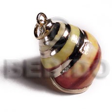 yellow shell / molten gold metal series /  attached jump ring / electroplated / st-98 - Molten Metal Pendants