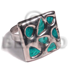 glistening turquoise abalone /  square 25mmx25mm / adjustable ring/  molten silver metal series / electroplated - Molten Metal Rings