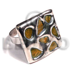 Glistening orange abalone Molten Metal Rings