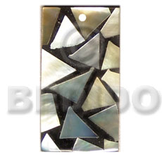 Flat rectangle 15mmx30mm black resin Mosaic Pendants