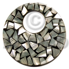 flat 65mm round black resin laminated  kabibe chips  23mm hole - Mosaic Pendants