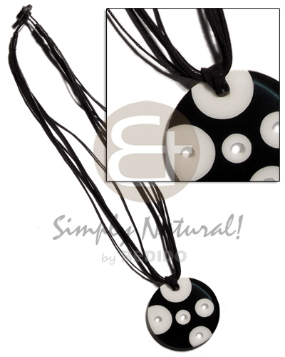 hand made Black white 50mm round Multi Row Necklace