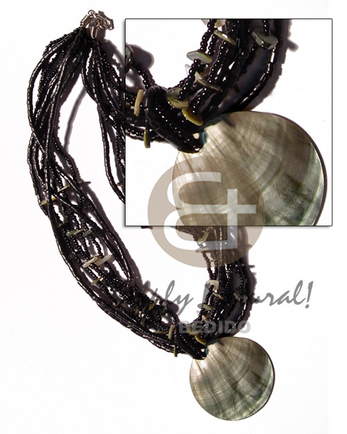 6 layers black glass beads Multi Row Necklace