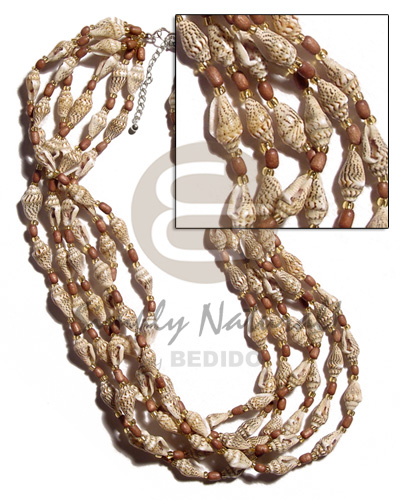 6 layer nassa tiger Multi Row Necklace