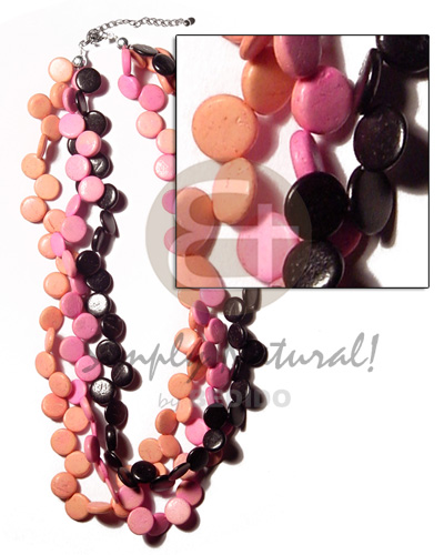 3 layers 10mm black pink peach coco Multi Row Necklace