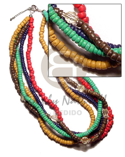 5 layers 4-5mm coco pokalet. Multi Row Necklace