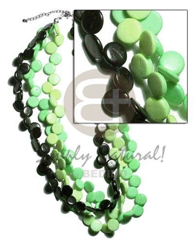 3 layers 10mm black lime green light Multi Row Necklace