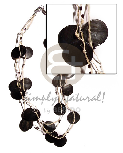 3 rows raffia in graduated Multi Row Necklace