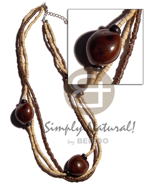 Brown kukui nuts in 3 Multi Row Necklace