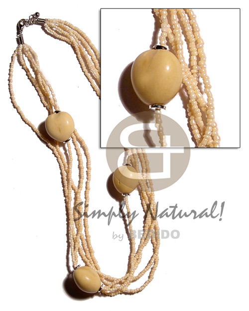 White kukui nuts in 5 Multi Row Necklace